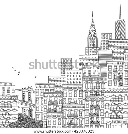 Hand Drawn Houses Of New York City Adult Coloring Book Page Ink