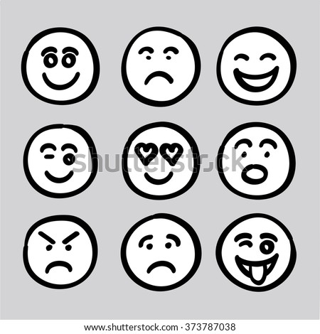 hand drawn human face expressions icons collection set vector graphic. it composed of happy face, sad face, surprise face, worry face, satisfied face, funny face, naughty face, angry face, love face - stock vector