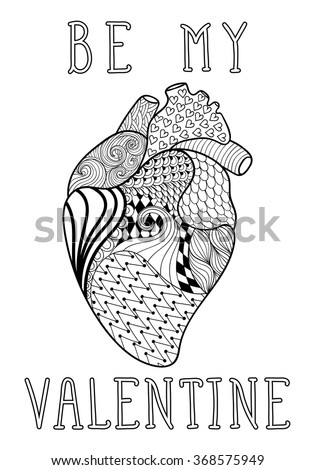 Hand drawn human heart patterned adult stock vector 368575949 hand drawn human heart patterned for adult coloring page a4 size in doodle zentangle style ccuart Choice Image
