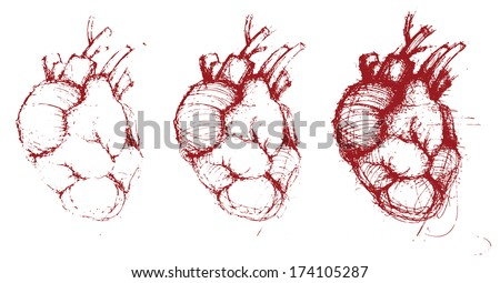 Hand-drawn human hearts, vector illustration, red collection