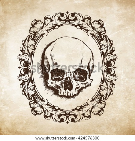 Hand-drawn human skull in oval filigree frame over grunge paper background. Vanitas vector illustration - stock vector