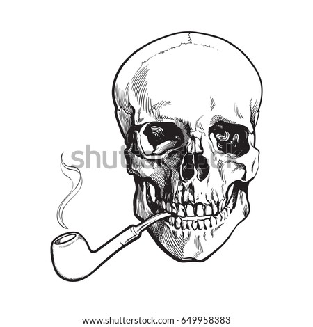 hand drawn human skull smoking lacquered wooden pipe black and white sketch style vector illustration