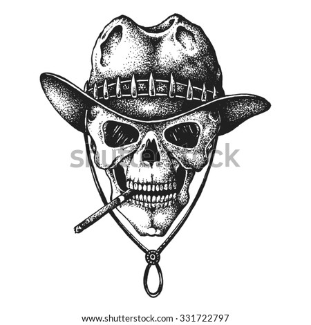 Hand drawn hunter skull in hat with cigarette. Vector illustration