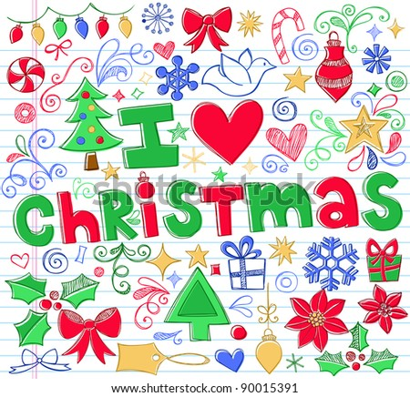 Hand-Drawn I Love Christmas Sketchy Notebook Doodles- Vector Illustration Design Elements on Lined Sketchbook Paper Background