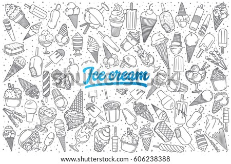 Hand drawn ice cream doodle set background with blue lettering in vector