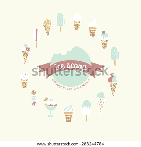 Hand drawn ice cream shop logo. Set of different kind of Ice cream. Ice cream collection in vector - stock vector
