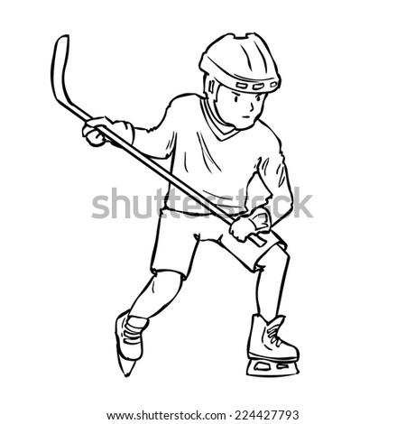 Hand drawn ice hockey player isolated on white.