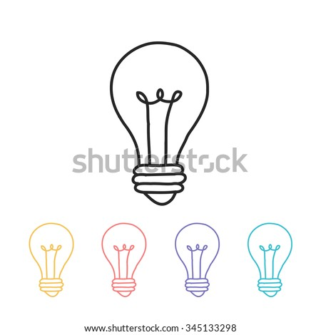 hand drawn icon. lightbulb. vector illustration - stock vector