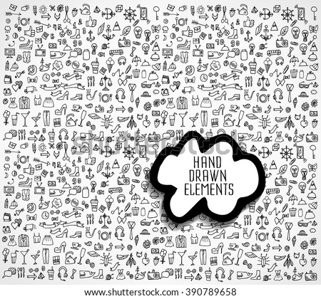 Hand drawn icons and elements pattern. Digital illustration - stock vector