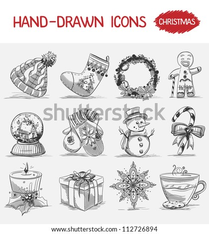 Hand-drawn icons. Christmas - stock vector