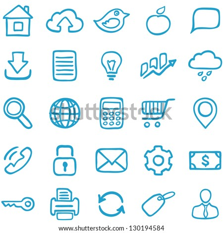 Hand-drawn icons for design and decoration. - stock vector