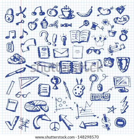 Hand drawn icons set - eps10 - stock vector