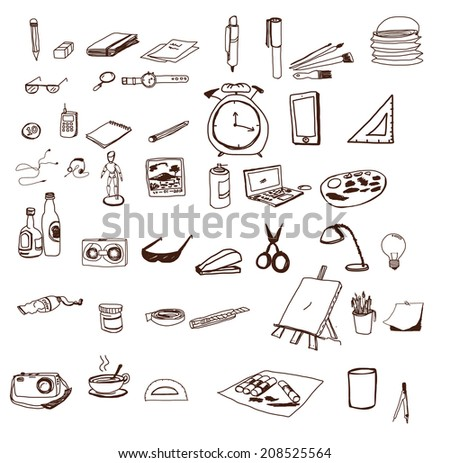 hand drawn Icons set school - stock vector