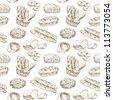 hand drawn illustration - bakery seamless wallpaper - stock vector