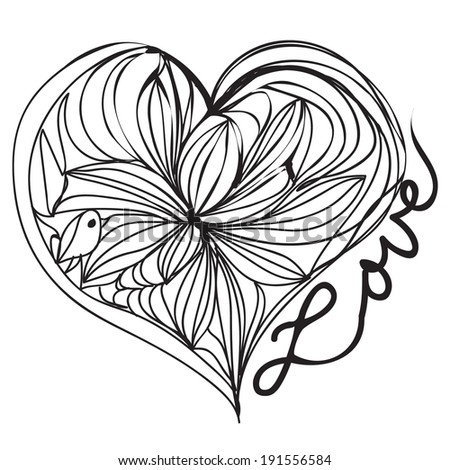 hand drawn illustration black outline love heart drawing vector file - stock vector