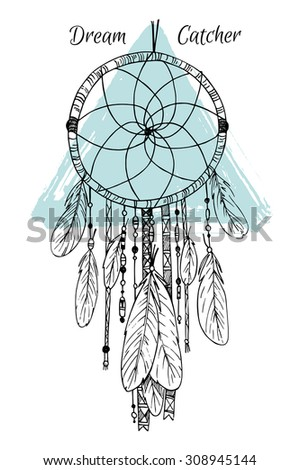 Hand drawn illustration - Dream catcher. Tribal design element. Perfect for invitations, greeting cards, quotes, blogs, posters and more. Vector - stock vector