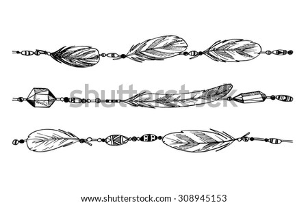 Hand drawn illustration - feathers and beads. Tribal design element. Vector