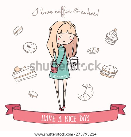 Hand drawn illustration of a cute girl character with coffee. Cake doodle icons on the background. - stock vector