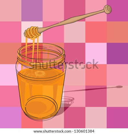 hand drawn illustration of a honey jar over a kitchen tablecloth pattern with squares - stock vector