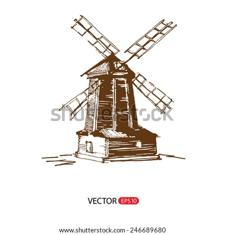Hand drawn illustration of a mill. EPS 10. No transparency. No gradients. Doodle style - stock vector