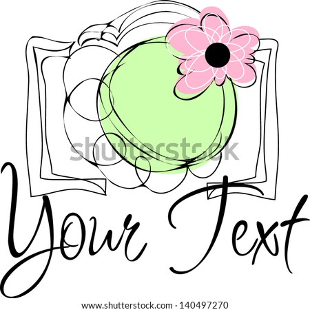 Hand drawn illustration of a photo camera doodle sketch drawing - stock vector