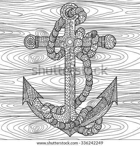 Hand drawn illustration of an anchor and rope in the zentangle style adult coloring page