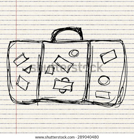 Hand drawn illustration of an old suitcase