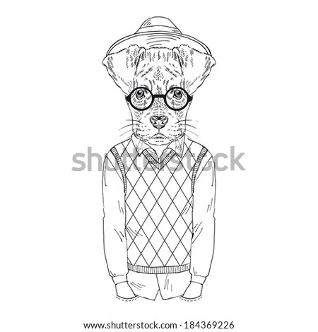 Hand Drawn Illustration Of Boxer Doggy Dressed Up In Hipster Style