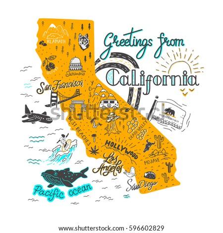 Hand Drawn Illustration California Map Tourist Stock Vector 2018