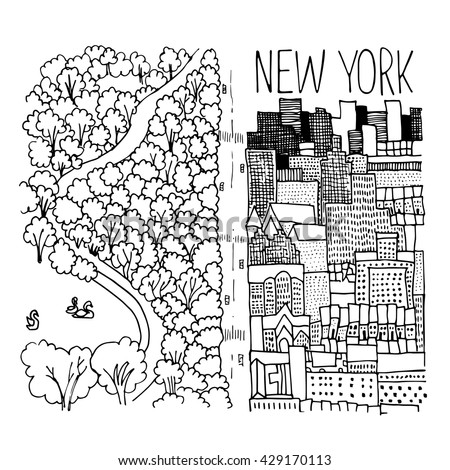 Hand drawn illustration of Central Park in New York. Simple sketch style. Black contour isolated on white background. Vector illustration.