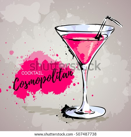 Hand drawn illustration of cocktail cosmopolitan.
