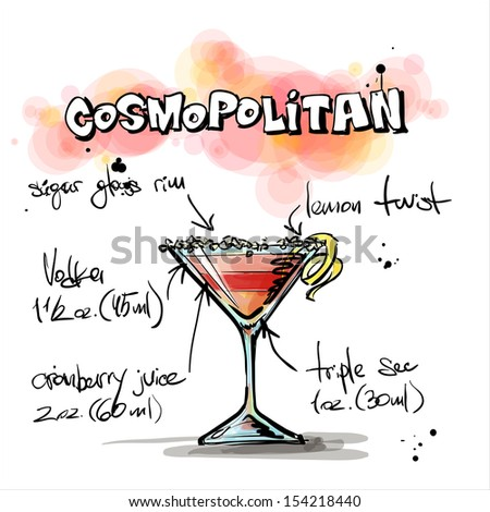 Hand drawn illustration of cocktail. COSMOPOLITAN. Vector collection. - stock vector