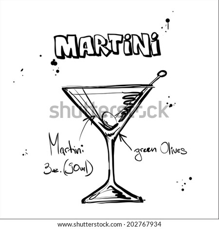 Hand drawn illustration of cocktail. MARTINI. Vector collection. - stock vector