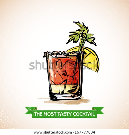Hand drawn illustration of cocktail. Vector collection. - stock vector