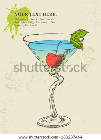 Hand drawn illustration of cocktail with blue curacao - stock vector