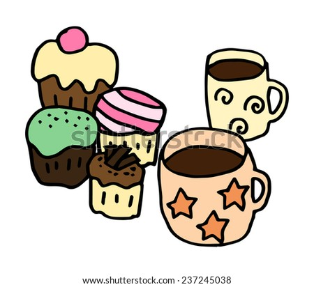 Hand-drawn illustration of cups of coffee and cupcakes, vector image - stock vector