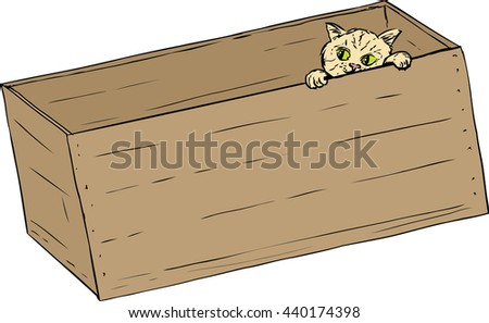 Hand drawn illustration of cute tabby kitten peeking from inside of wooden crate - stock vector