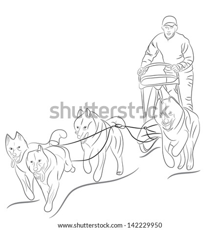 Hand Drawn Illustration Of Dogs Pulling A Sled Black Vector Silhouette