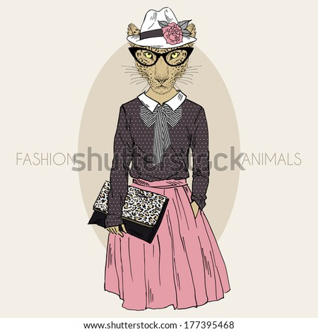 Hand drawn illustration of dressed leopard girl hipster in colors - stock vector