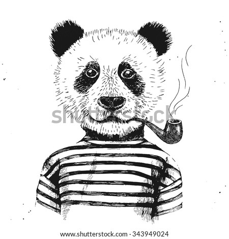 Hand drawn Illustration of dressed up hipster panda with pipe - stock vector