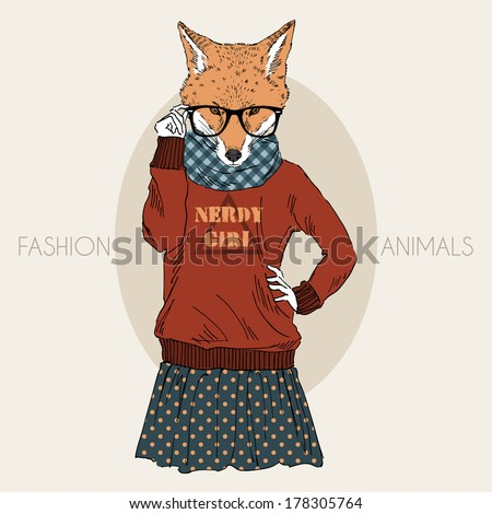 Hand drawn illustration of dressed up nerdy fox girl in colors - stock vector
