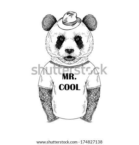 Hand drawn illustration of dressed up panda hipster in black and white isolated on white - stock vector