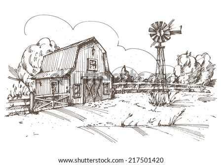 Hand drawn illustration of farmhouse. EPS 10. No transparency. No gradients. - stock vector