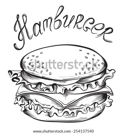 Hand drawn illustration of Hamburger. Sketch Vector illustration. - stock vector