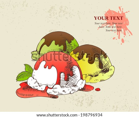 Hand drawn illustration of Ice cream scoops with sweet syrup - stock vector
