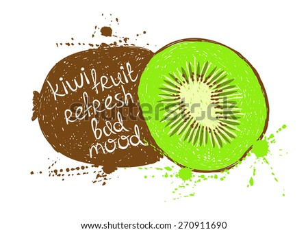 Kiwi Fruit Silhouette Kiwi Fruit Silhouette on a