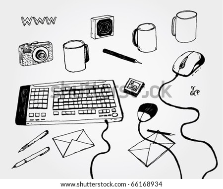 Hand Drawn Illustration of Keyboard and Stuff - stock vector