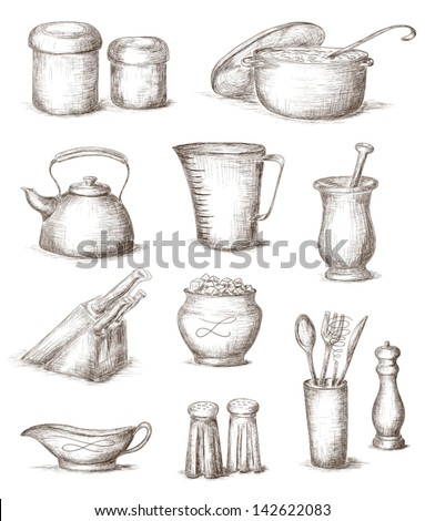 Hand Drawn Illustration Kitchen Utensils Stock Vector 142622083