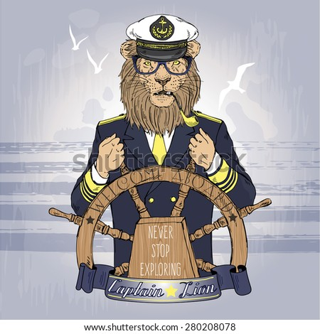hand drawn illustration of lion captain, nautical poster, animal character design - stock vector