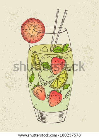 Hand drawn illustration of mojito with strawberry. - stock vector
